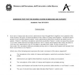 Pubblicato il testo della prova di Ammissione Medicina in Lingua Inglese 2013.