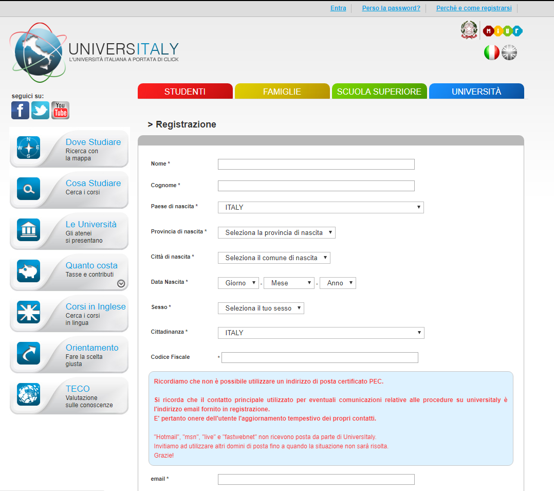 Universitaly la procedura per iscriversi al test di for Test medicina online